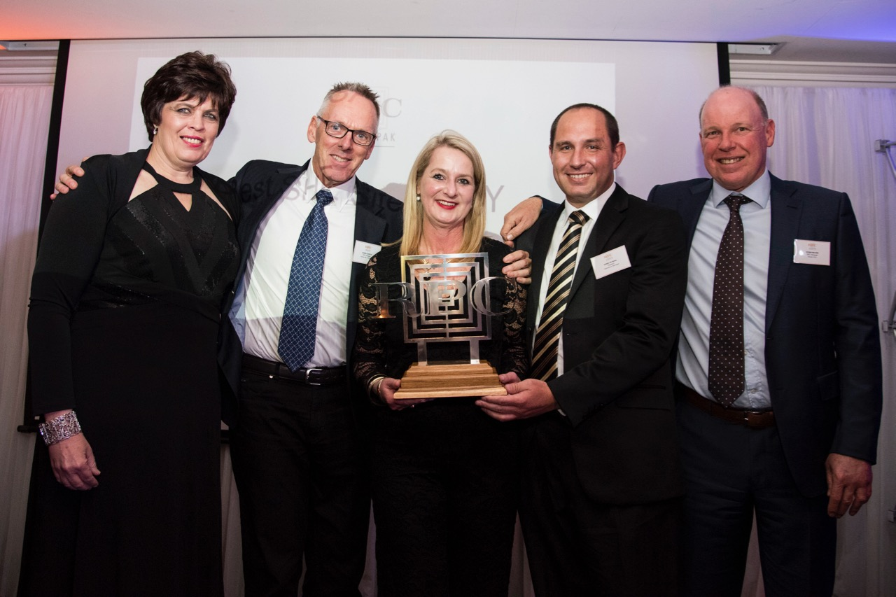 RPC Astrapak Plastech were awarded for  QUALITY: Most Improved Site , from left: Helmien Raath (Group SHEQ Manager), Robin Olbrich (Acting General Manager), Margie Deetlefs (SHEQ Manager), Danie de Waal (Operations Manager), Robin Moore (Group CEO).