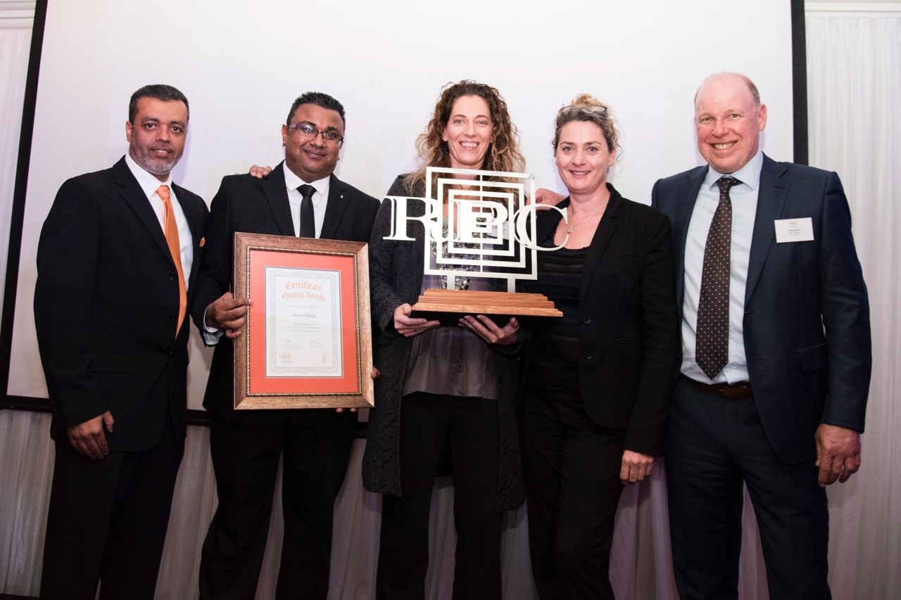 The  INNOVATION: Outstanding Collaboration between Site and Supplier  award went to SmartMatta, from left: Nawaaz Kalick (Procurement and Supply Executive), Rakash Suknunun, Marilize Worst and Michelle Kemp (all SmartMatta) and Robin Moore (Group CEO).