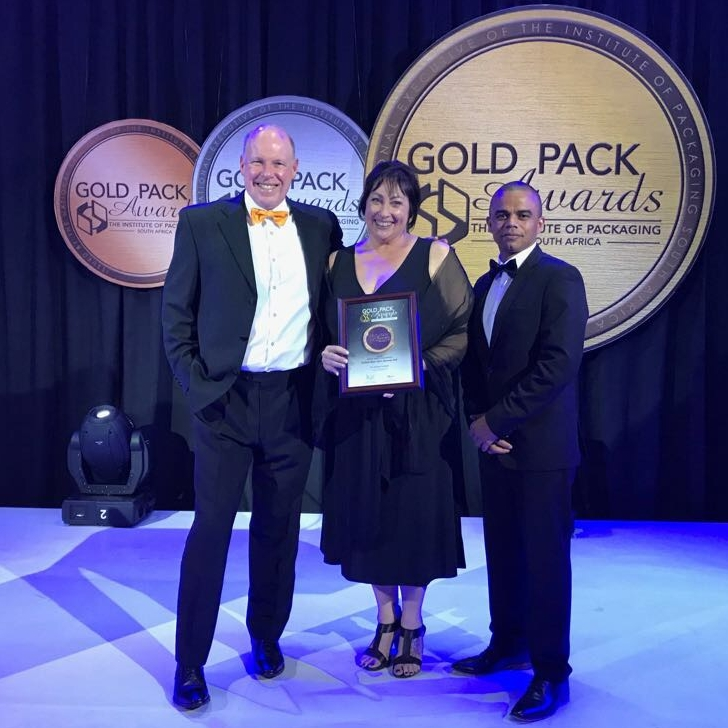 From left: RPC Astrapak CEO Robin Moore, Account Executive Belinda van Pletzen, and Clicks Group Packaging Technologist Quinton Jonathan.