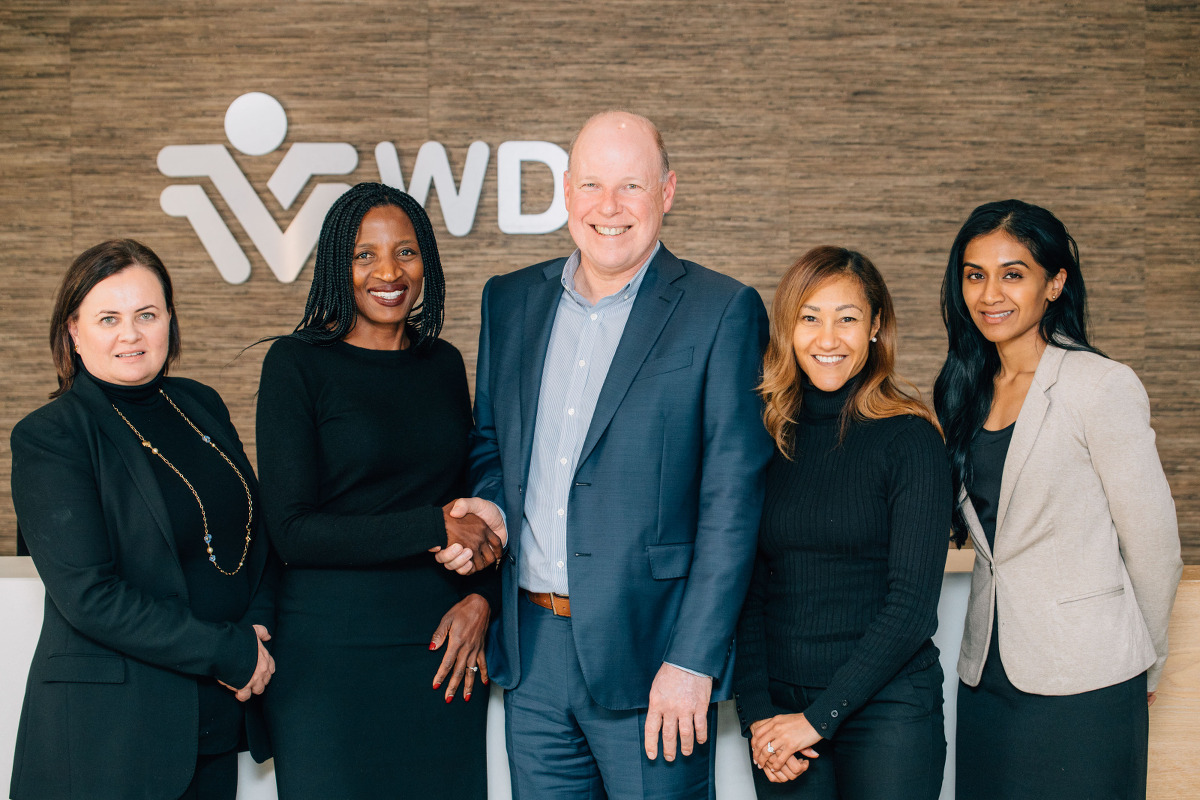 RPC Astrapak Chief Executive Robin Moore (centre) with the Team at WDBIH from left: Chief Investment Officer Nicola Gubb, Chief Executive Faith Khanyile, Investment Executive Lizanne Prince and Investment Executive Melissa Naidoo.