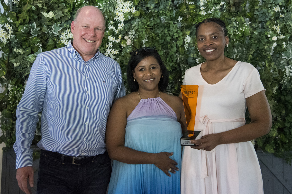 HEALTH & SAFETY: Most Improved Site → RPC Astrapak Plastop [RPC Astrapak CEO Robin Moore awards the trophy to Safety & Food Safety Systems Officer Ray-Anne Peterson and SHEQ Manager Nomthi Ndaba]