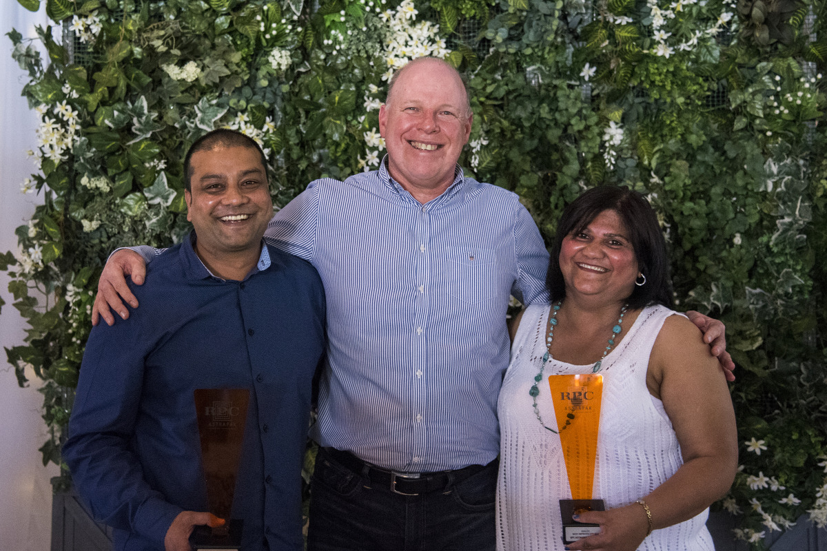 QUALITY: Most Improved Site → RPC Astrapak Consupaq and RPC Astrapak Thermopac tie [RPC Astrapak CEO Robin Moore awards the trophies to SHEQ Manager Mishan Lilruthan and Quality Manager Crystal Chandler]