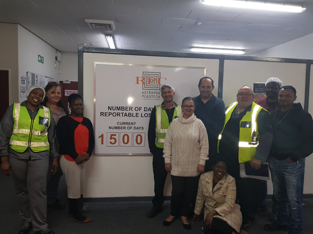 The team at Berry Astrapak's Plastech plant in Wilsonia, East London, celebrate 1500 injury-free days.