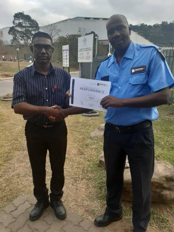 Mr. Khumalo of Protea Coin Security was commended on his amazing swift bravery and cool-headed action, containing and managing a small fire before further damage was caused.