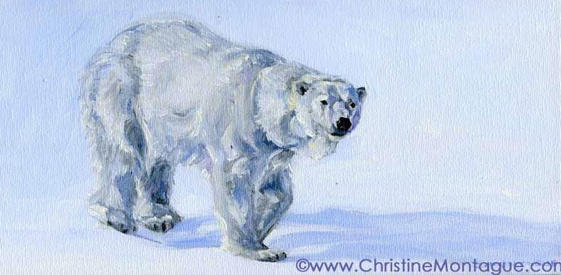 Polar Bear OIl Painting: Soft Snow