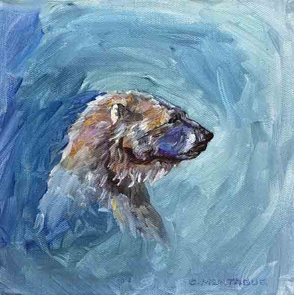 "Sold. ""Alert"" Polar Bear Portrait."