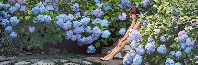 Girl in Garden with the Blue Hydrangeas