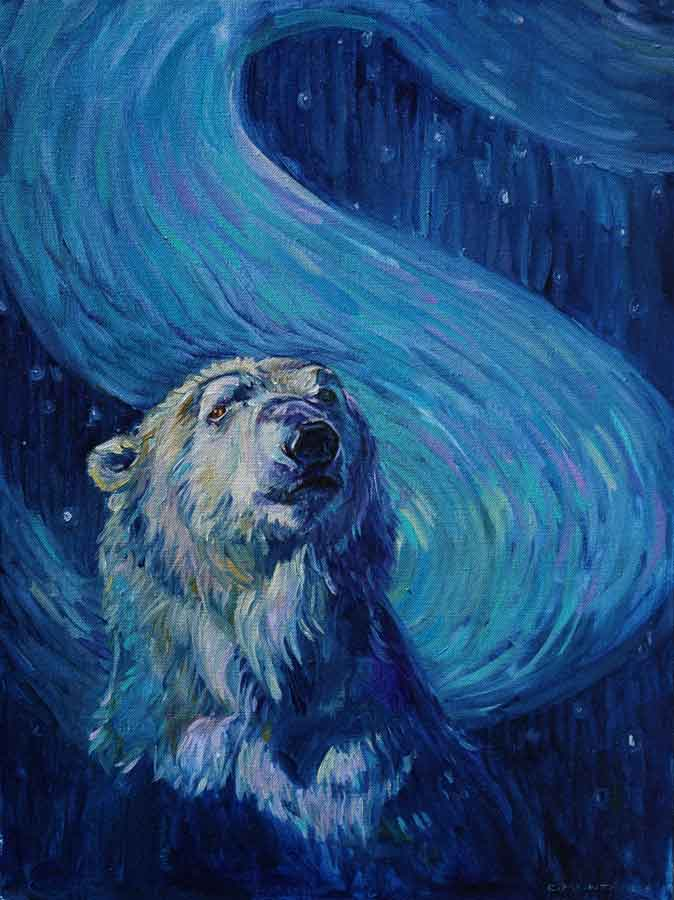 Polar Bear painting copyright Christine Montague