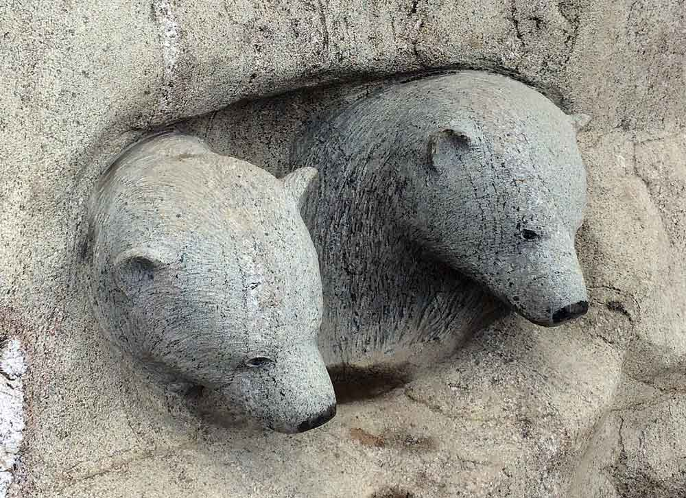 Polar bear cubs. Public sculpture. Iqaluit, Nunavut. Photo: ©Christine Montague