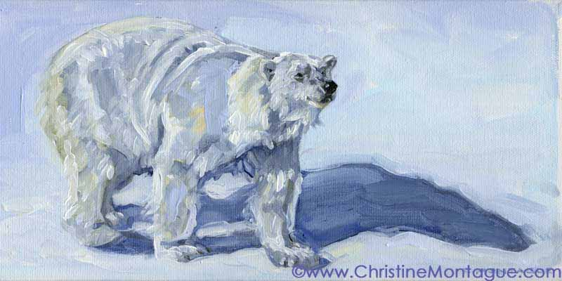 "Borealis (6"" x 12"") . ©Christine Montague polar bear oil paintings Contact   Christine Polar Bear Art."