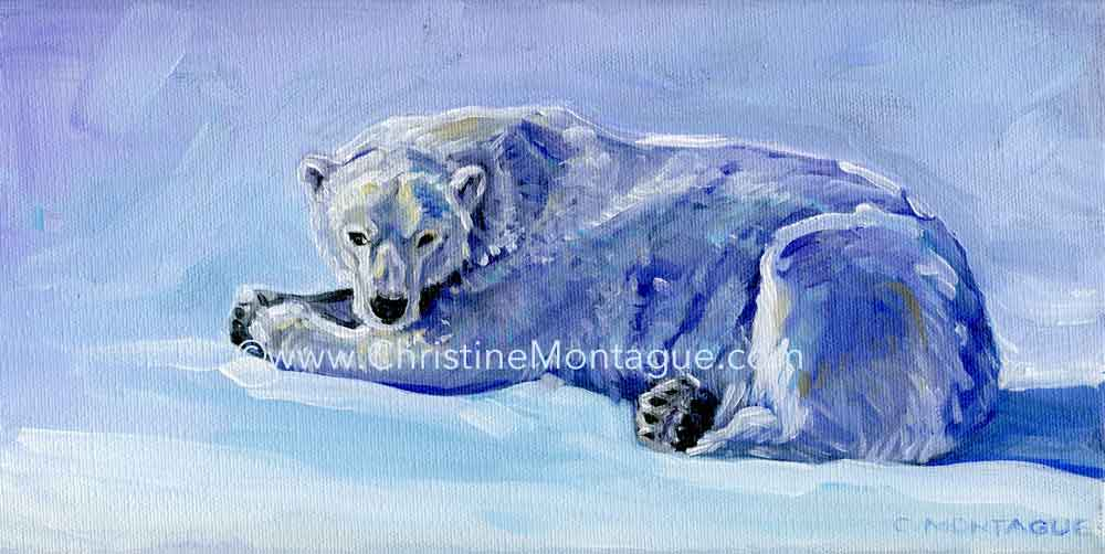 "Mauja . 6"" x 12"" polar bear oil painting on canvas ©Christine Montague. Canada."