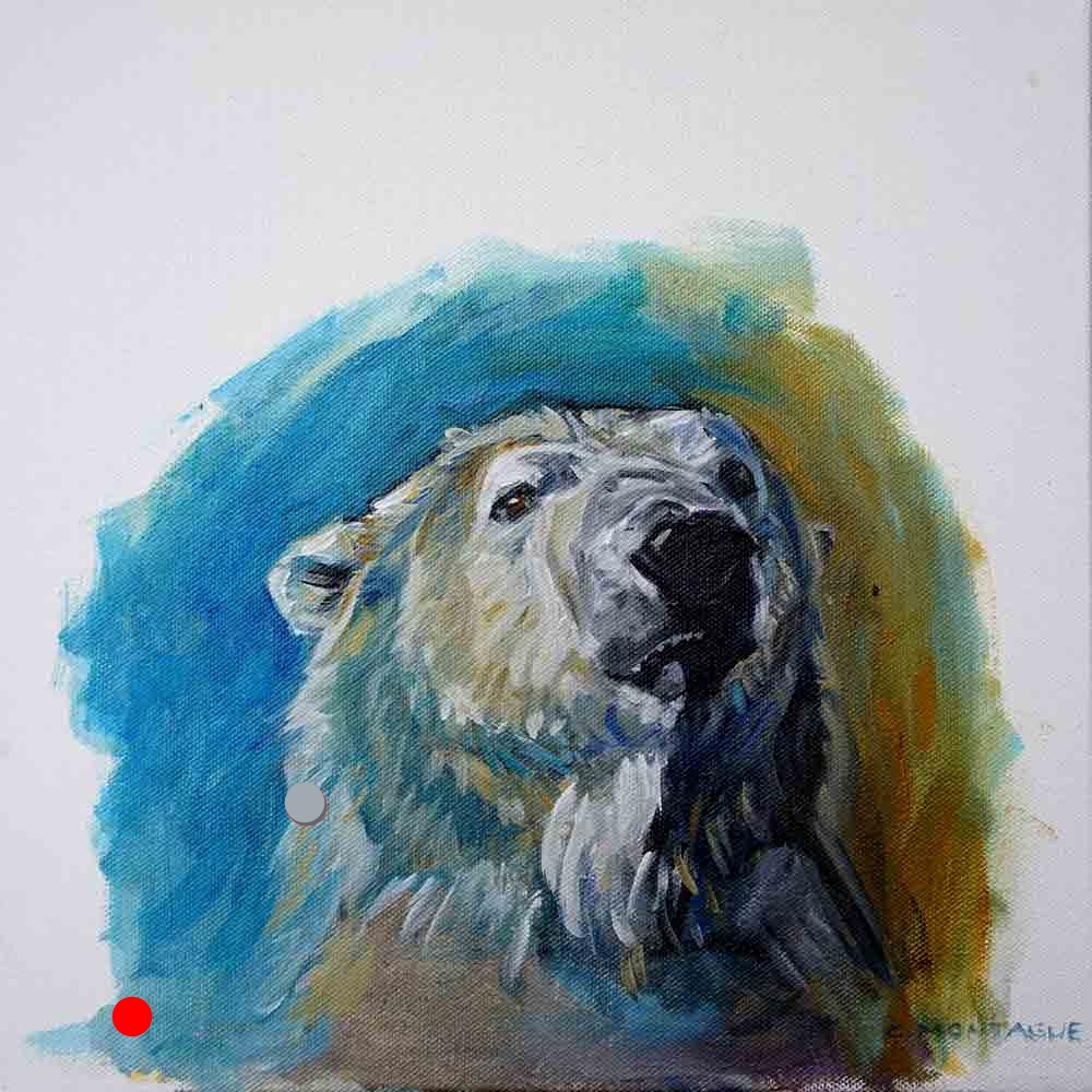 SOLD. Polar Bear Portrait- Oil Study of A Polar Bear Head 3