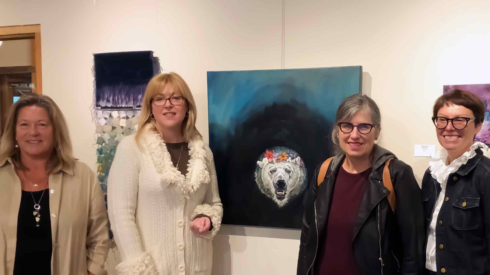 Jurors  Sue Powell ,  Regan Hayward , artist  Christine Montague,  and juror  Jill Price  with   Canadian Flower Crown     at the  Jurors walk,   Headwaters Arts Gallery , Alton Mill, Ontario, Canada.