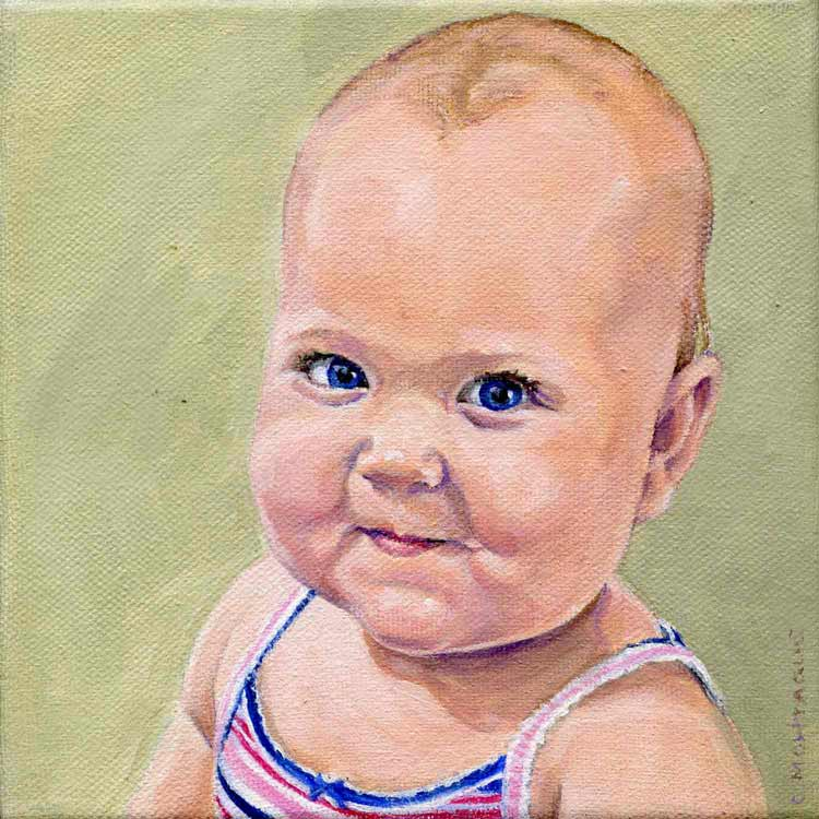 "Baby girl portrait 6"" x 6"". Oil. Private collection."
