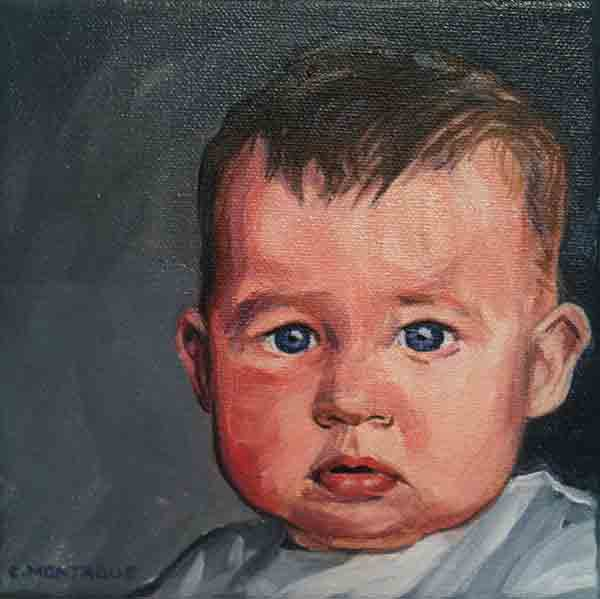 "Baby boy portrait. 6"" x 6"". Oil."