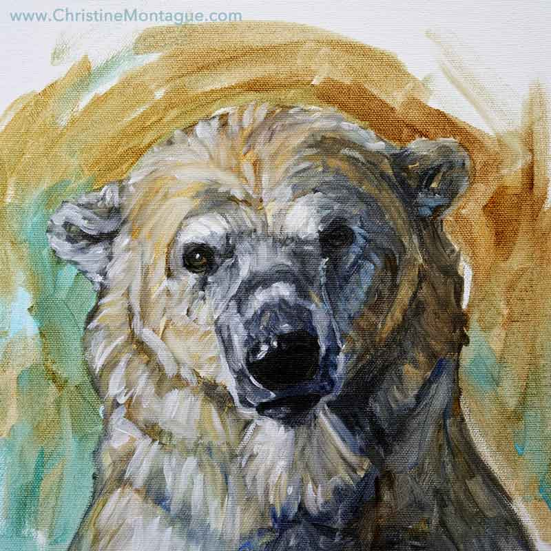 "Wistful. Polar bear portrait. 12"" x 12"" x 1.5"" oil painting on canvas. ©Christine Montague Contact me  here"