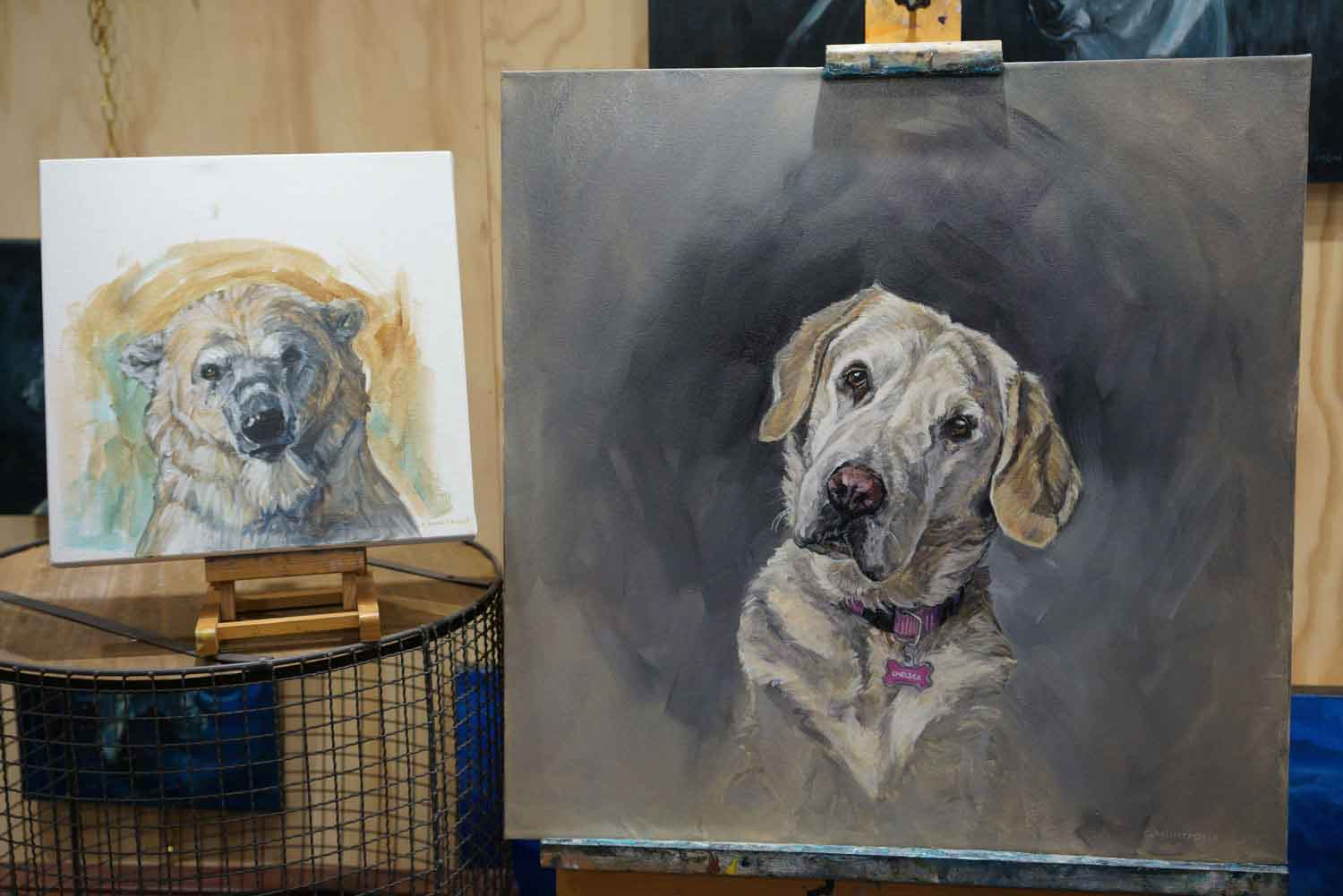 Wistful Bear      and the  dog portrait  it  inspired  side by side. ©Christine Montague