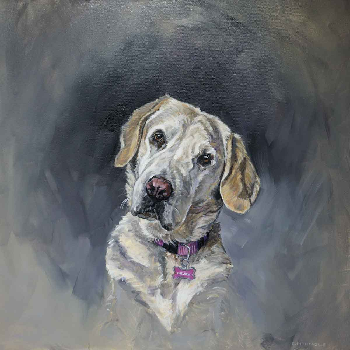 "Golden Lab Commission. 24"" x 24"" x 1.5"" oil painting on canvas. ©Christine Montague Contact me  here , or visit  Commission a Portrait ."