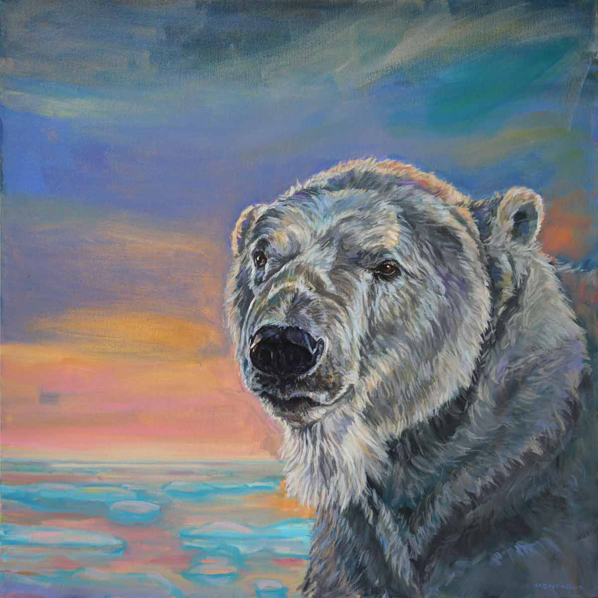 "Into The Sunset 2.    A Polar Bear Spring Series. For more information on this painting   http://www.christinemontague.com/polar-bear-paintings/sunset-polar-bear-2  ©Christine Montague 2019 24"" x 24"" x 1.5"" oil painting on canvas."