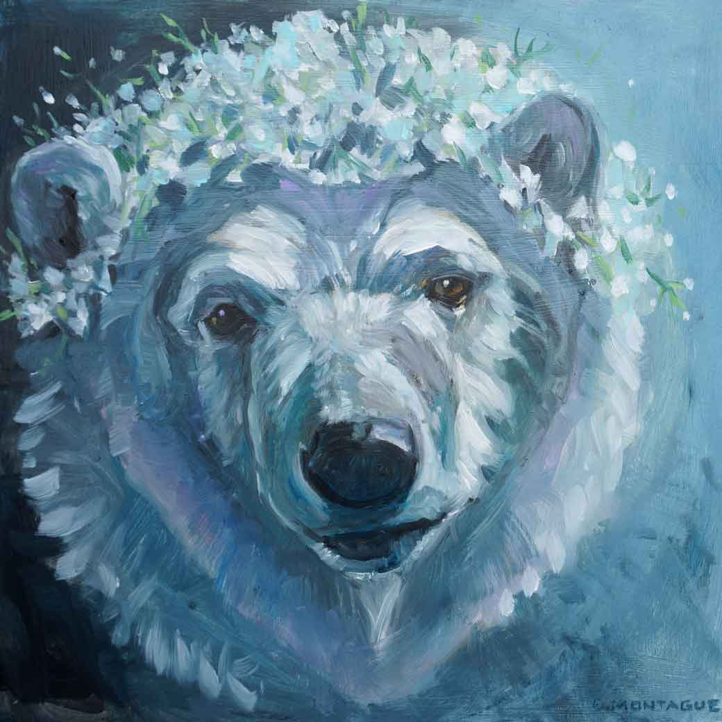 "Sweetheart Bear  . 12"" x 12"" x 1.5"" original oil painting on wood panel. © Christine Montague For more information, please  contact me."