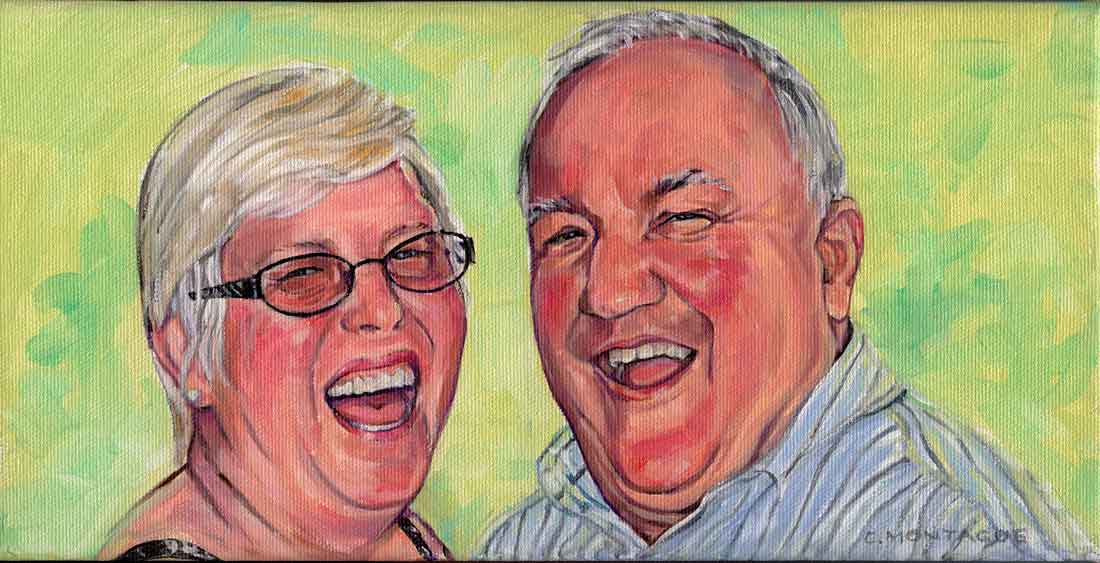 """A happy couple. 6"""" h x 12"""" wide. Private collection"""