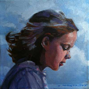 6x6 oil painting. Profile of a little girl. Private collection.