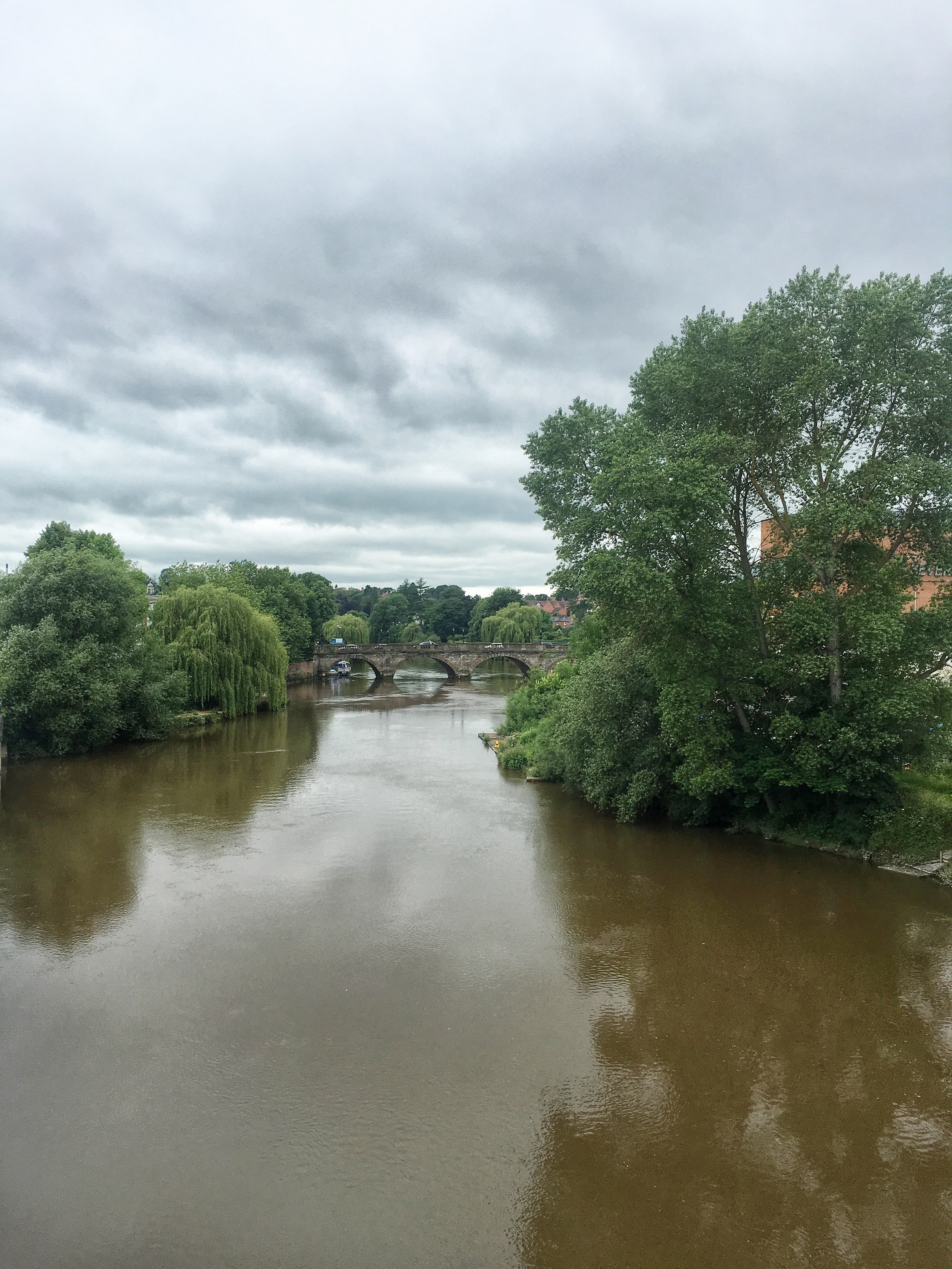 The Severn surrounds the town on three sides - and looked particularly silty [aka mucky] today.