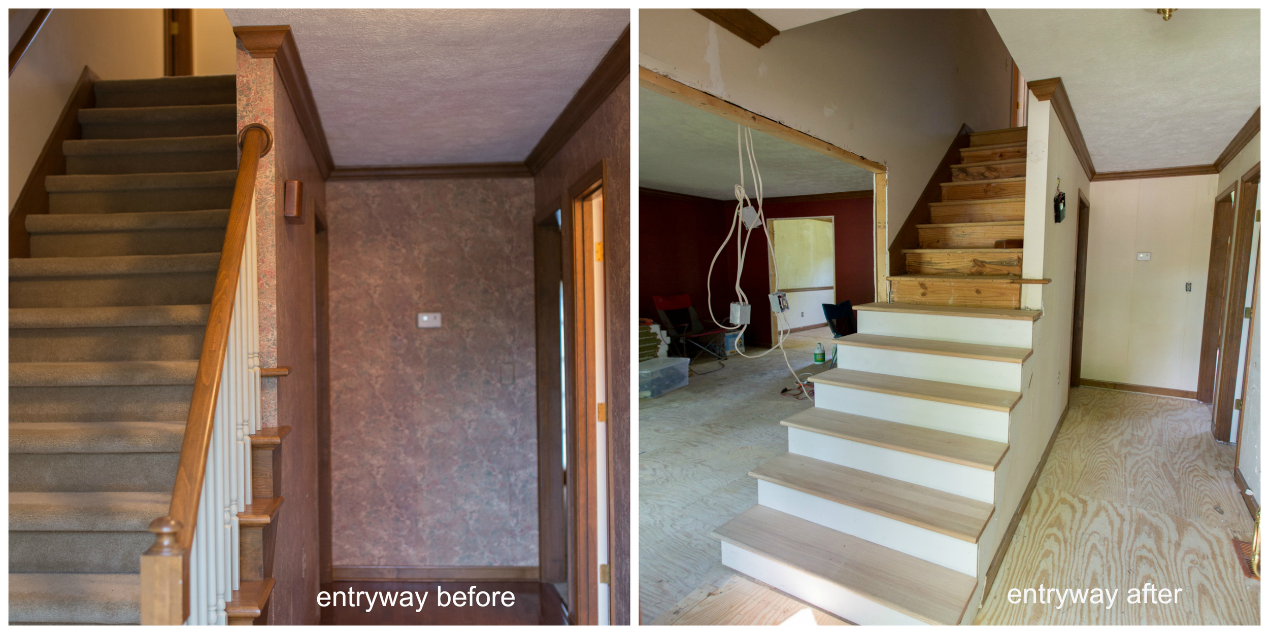 Our first home renovation project opening the entryway and new stairs