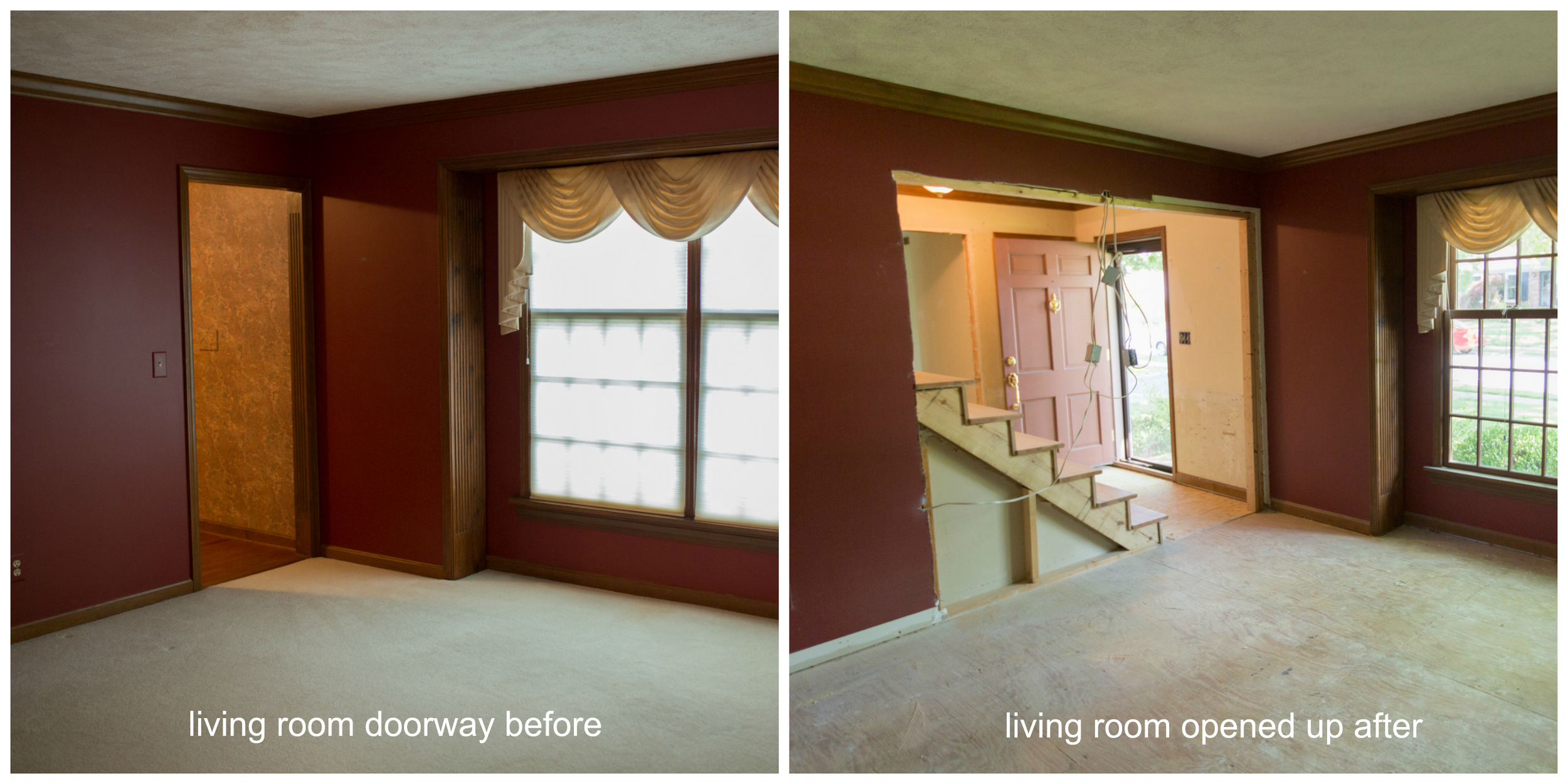 The formal living room entry widened home renovation project