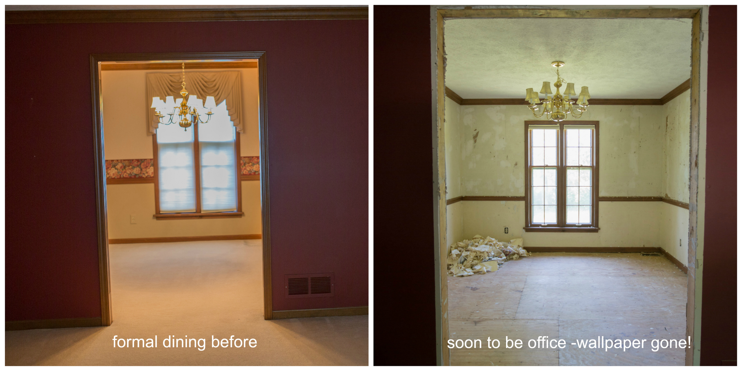 wallpaper removal in dining room which is being renovated