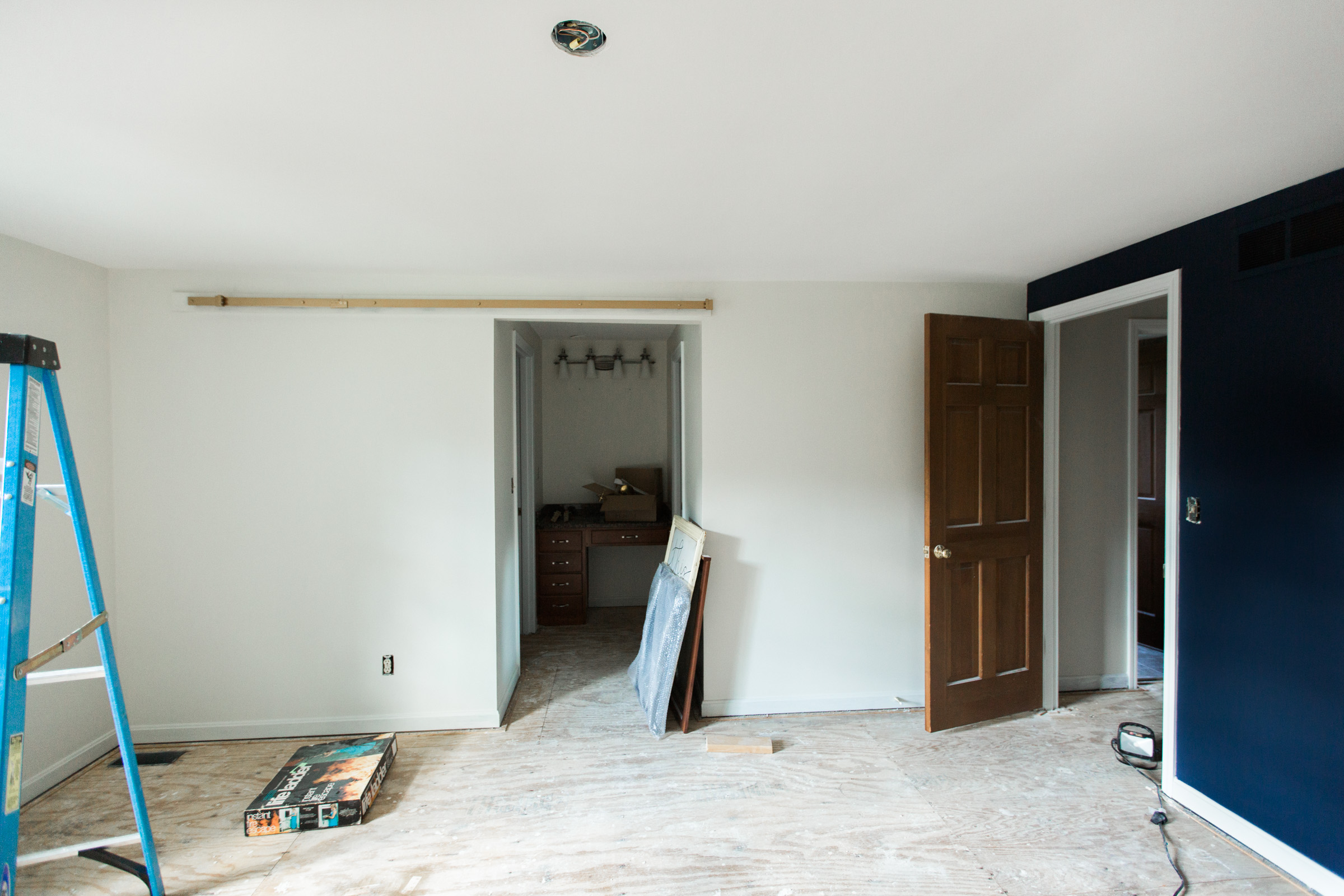 Making way for the sliding track door...and yes of course that is a gold track. (Thanks Scott and Emily)
