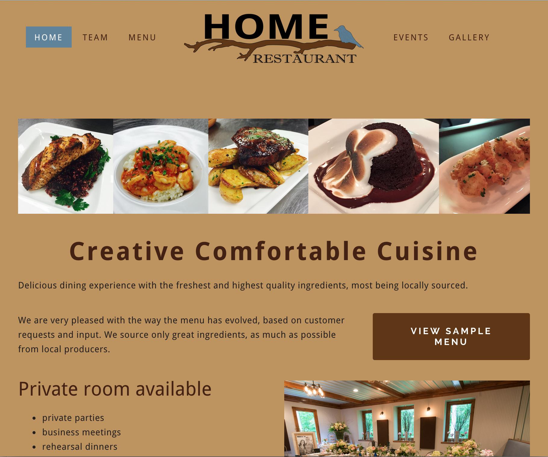 Home Restaurant Website