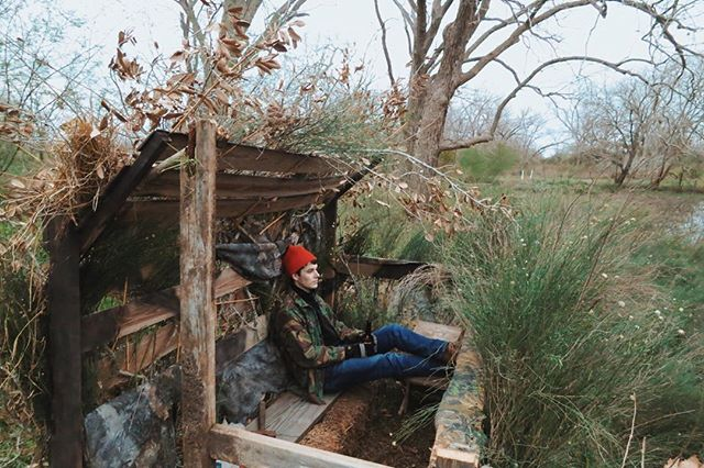 @oldpete45 taking a break in our almost-finished duck blind