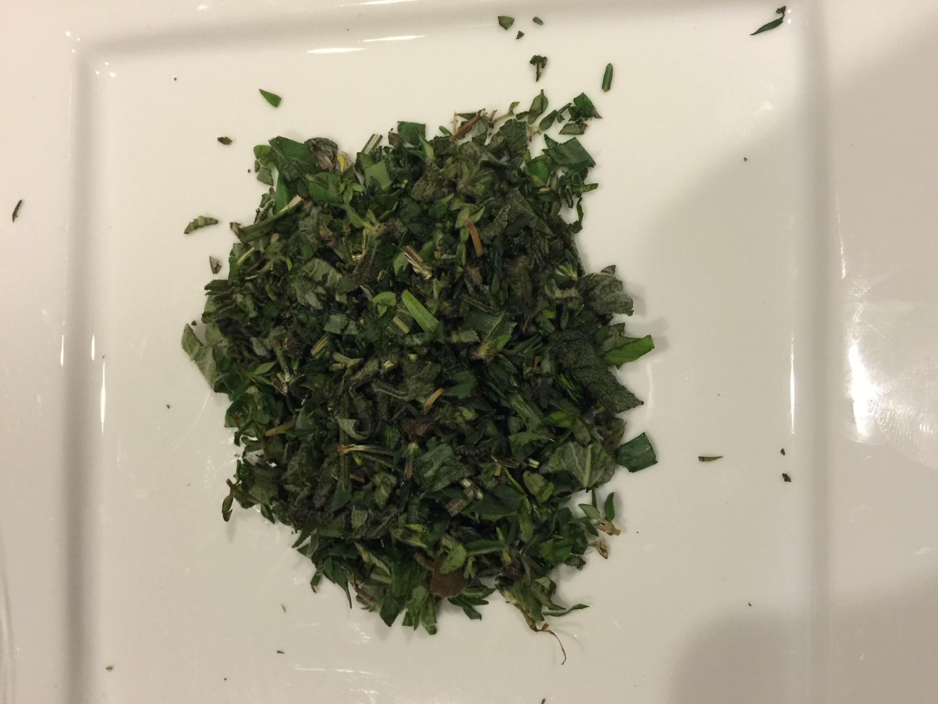 Herbs chopped and minced. If you can get fresh herbs, instead of dry, you won't be sorry!