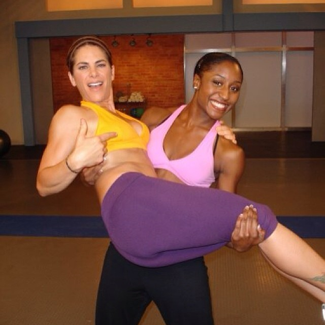 Saleemah E. Knight and Jillian Michaels on set for the _Banish the Fat, Boost Your Metabolism_ Fitness DVD.jpg