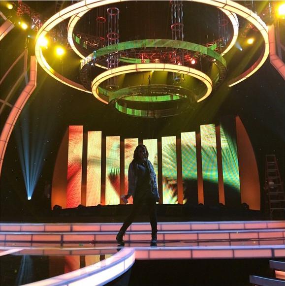 Saleemah on the stage for Los Premios de la Radio at Nokia Theatre.jpg
