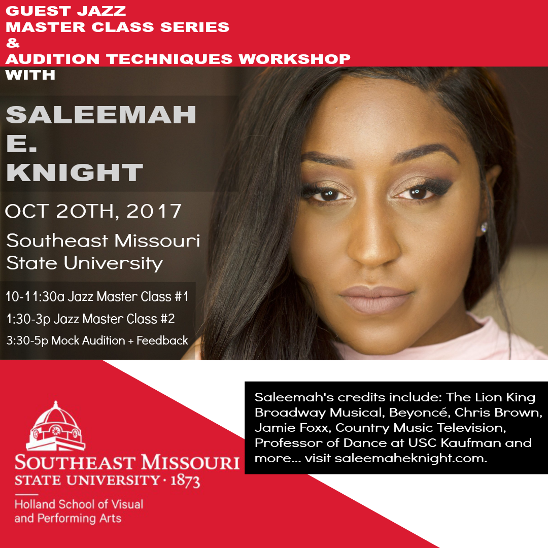 Southeast Missouri State University- Guest Jazz Master Classes, Mock Audition and Feedback Session with Saleemah E. Knight