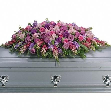 Lavender Tribute Casket Spray $250 -