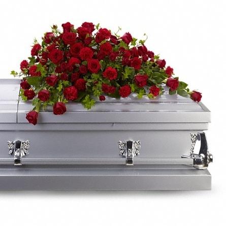 Red Rose reverence casket spray $250 -