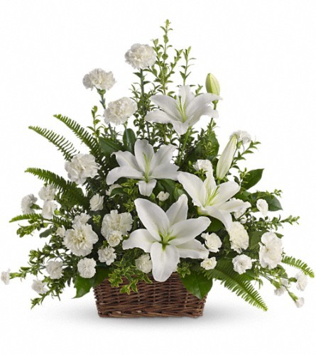 Peaceful White Lilies Basket $80 -