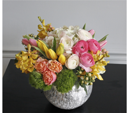 Sunrise (Above) - local spring blooms in a stylish silver container