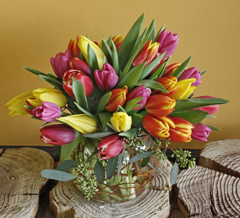 Tulips in low bowl with curly willow!