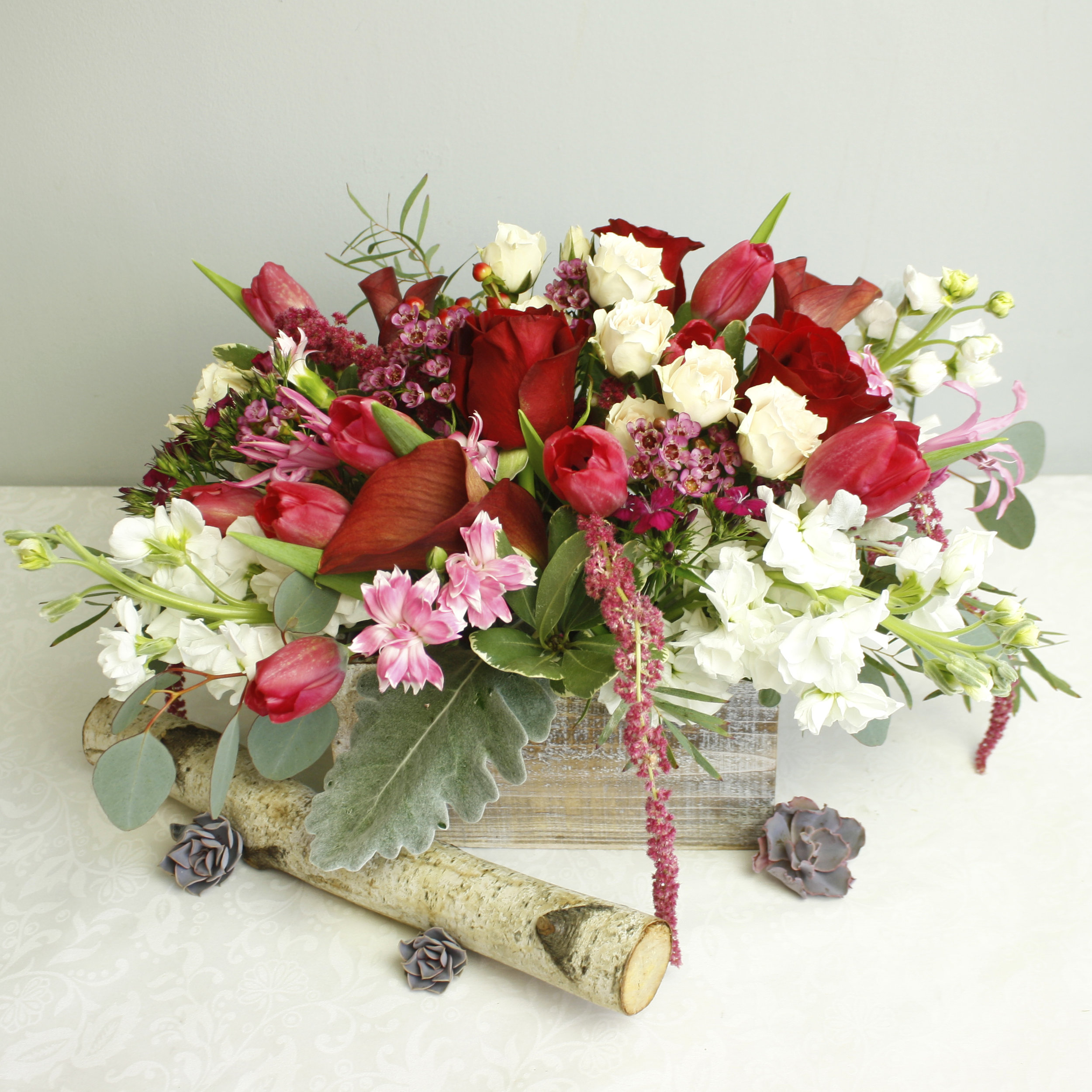 Fairy Tale - red, white, and pink flowers in a wooden box. The perfect way to say I love you for Valentine's Day