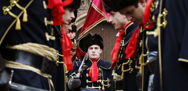 Soldiers in traditional uniform during Cravat Day in Croatia. -  photo by  Nikola Solic/Reuters