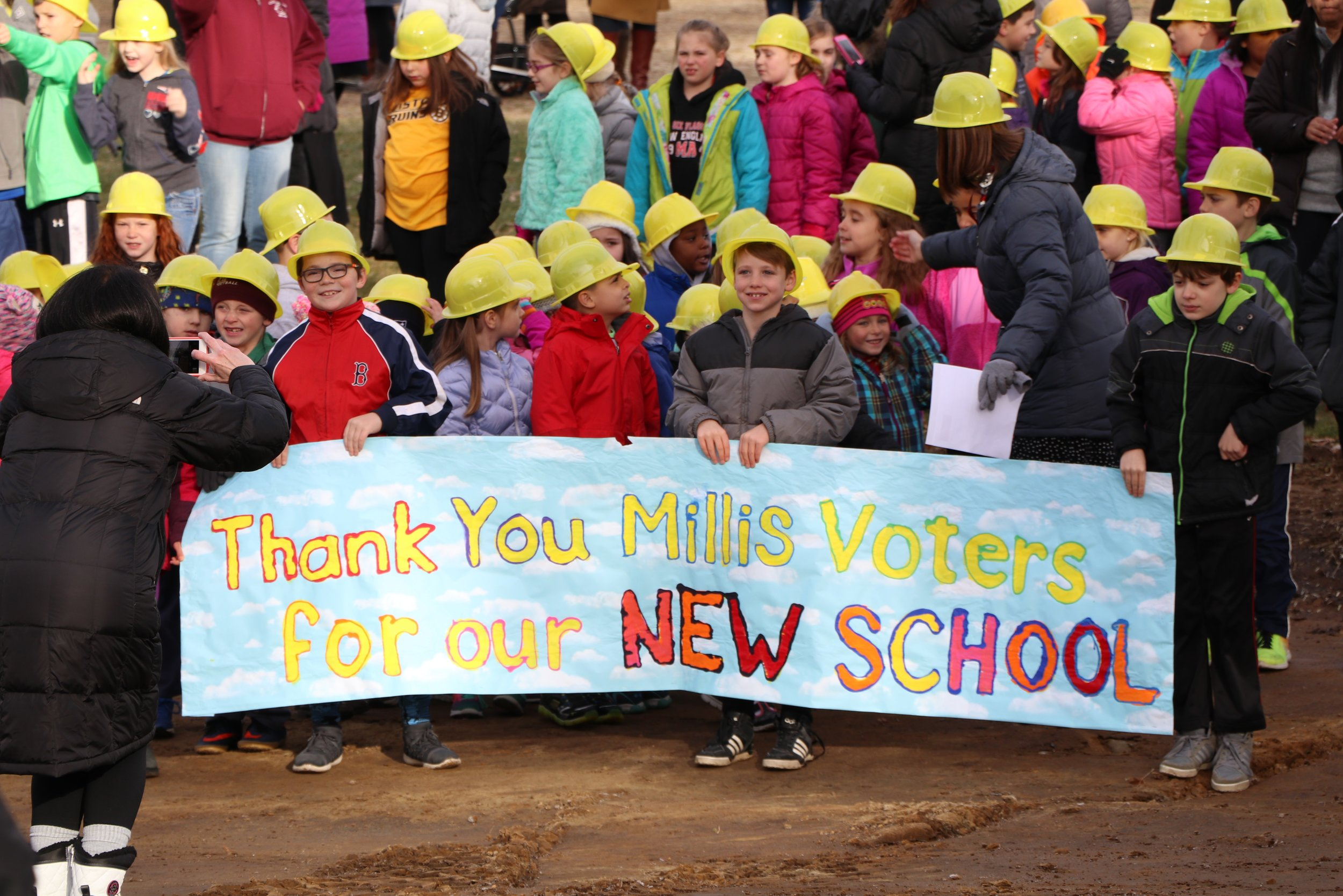Millis Elementary students pose for groundbreaking photo