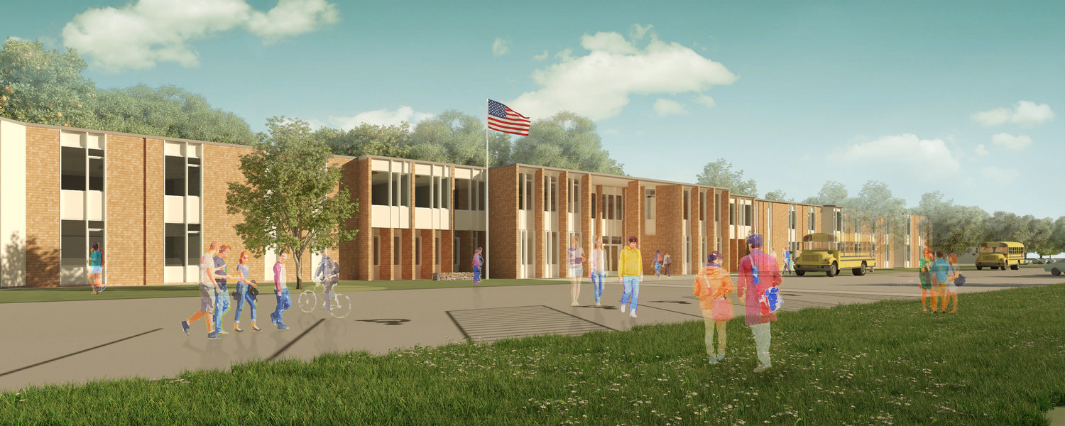 Architect's rendering of the new Westport grade 5-12 school.   Posted Thursday, September 26, 2019 7:18 am