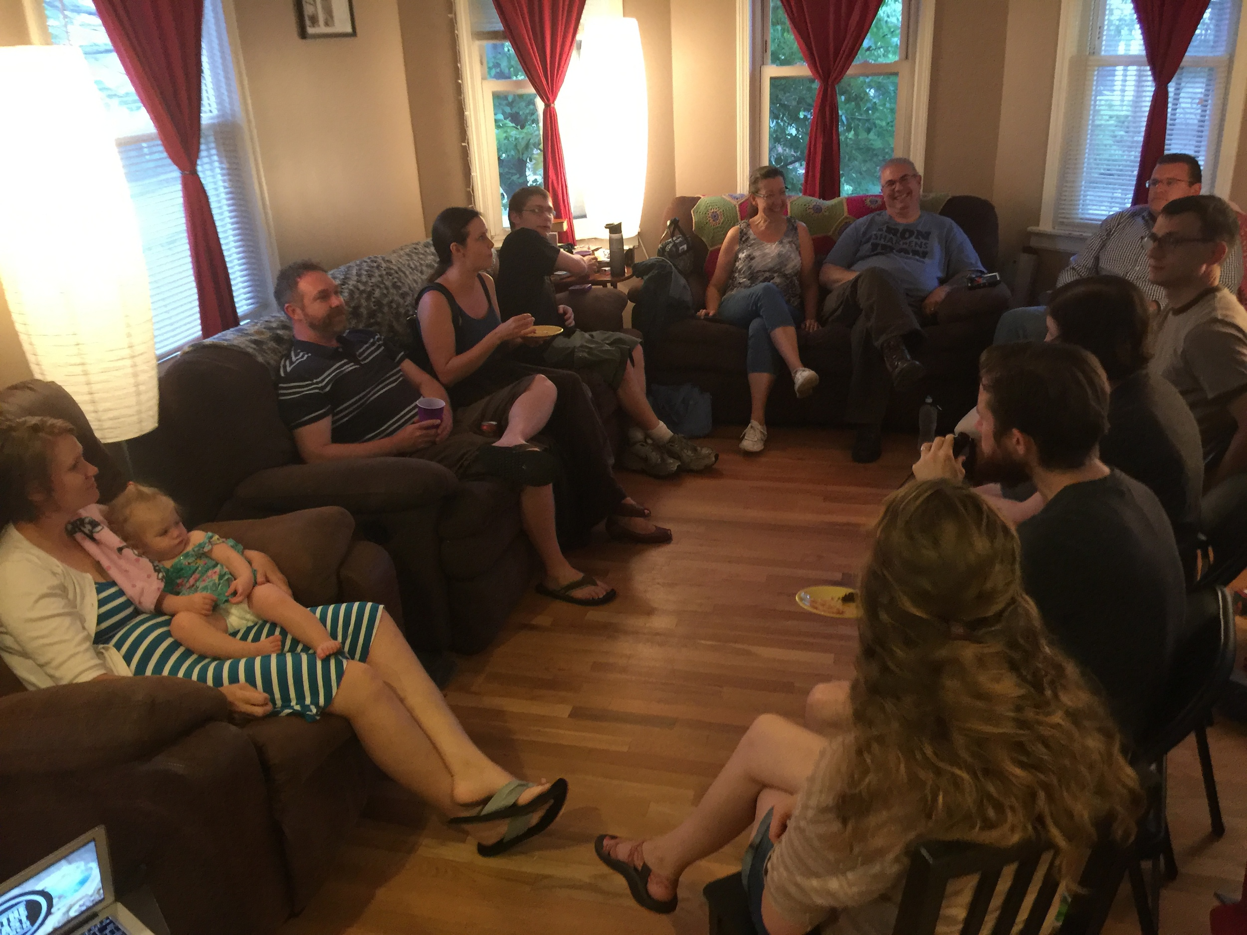 "A ""Theology Chat"" were a group discusses the things that makes faith difficult."