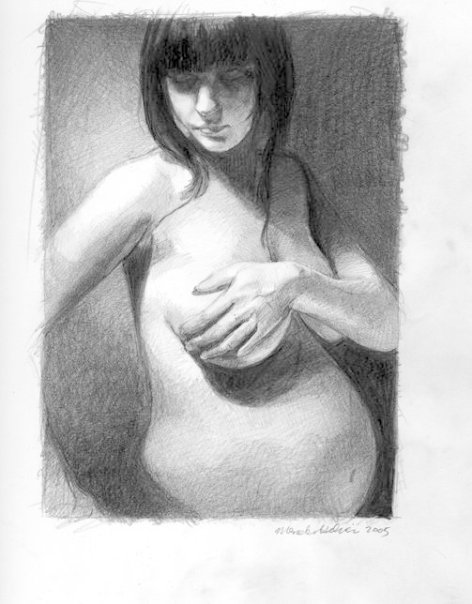 05_Kojii_9_months_pregnant._Drawing_by_Mercedes_Helnwein.jpg