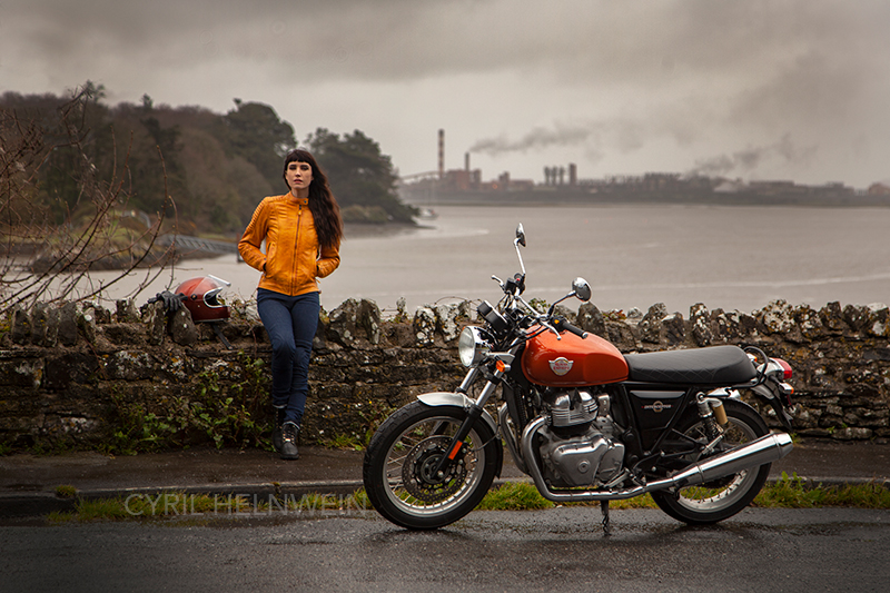Kojii Helnwein wearing Motogirl jacket and kevlars with Royal Enfield Interceptor by Cyril Helnwein_MG_6763.jpg