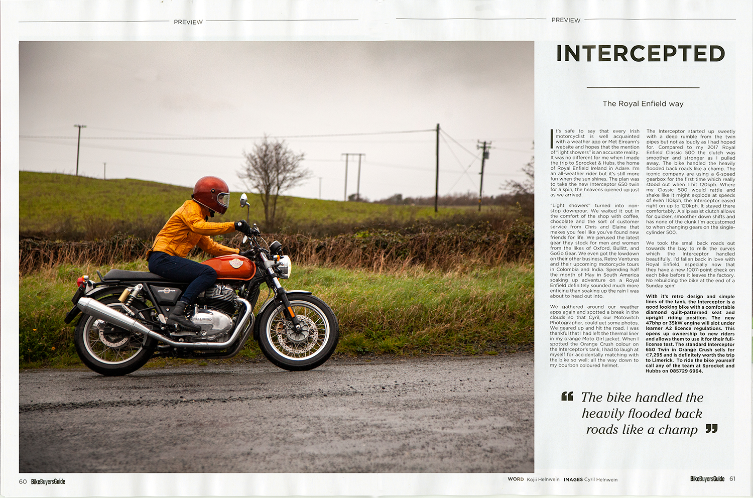 Published article: Review of Royal Enfield Interceptor 650 written by Kojii Helnwein published in Bike Buyers Guide magazine May 2019. Photography by Cyril Helnwein